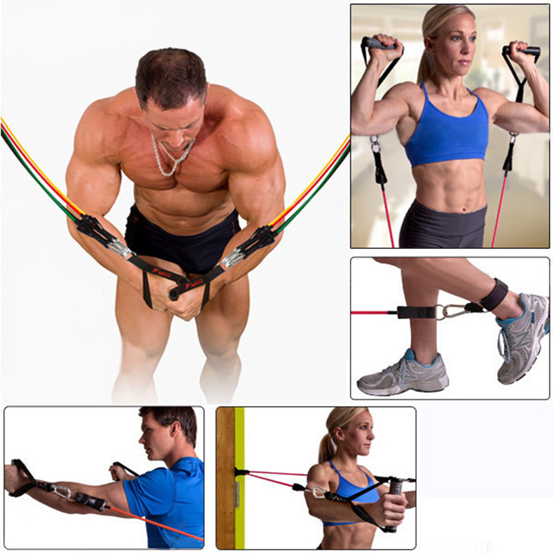 11pc in 1set Rubber Latex Fitness Resistance BandsTubes Practical Elastic Training Rope Yoga Pull Rope Sports fitness equipment