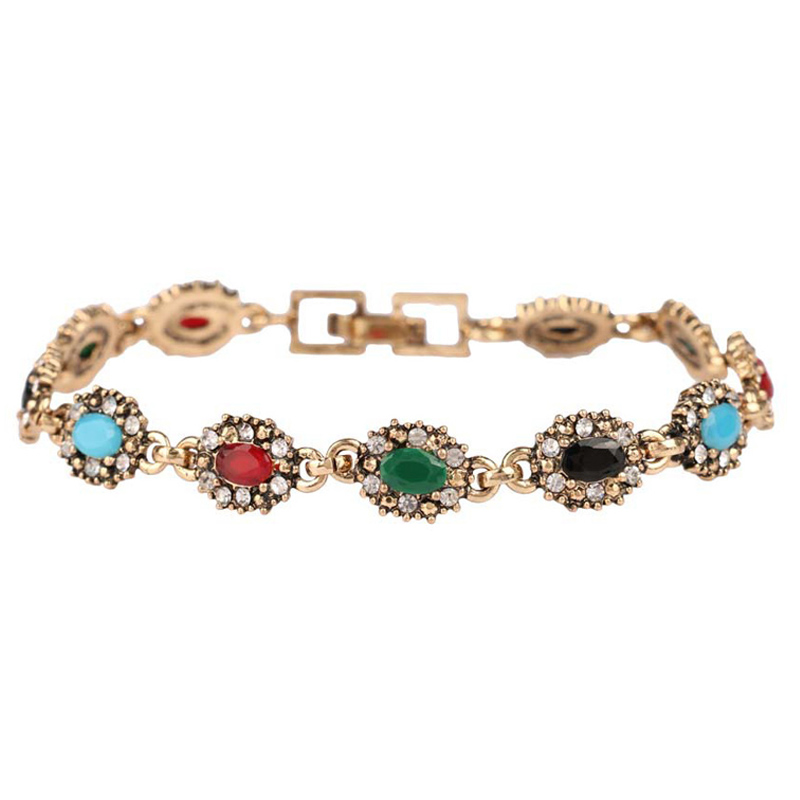 Brand Design Lucky Women Charm Jewelry Free Shipping Fashion Mixed Colors Resin Chain Bracelets Vintage Gift bijoux pulseira(China (Mainland))