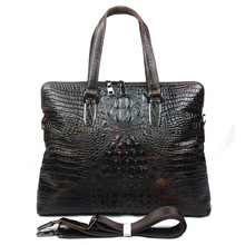 Retro Genuine Leather Alligator Men Briefcase Messenger Bag Handbag Business Laptop Notebook Crossbody Shoulder Zipper  Bags(China (Mainland))