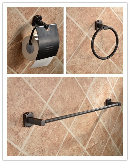 oil rubbed bronze orb classic bathroom hardware tool toilet paper holder towel ring towel bar brass bath accessory 3 pieces set(China (Mainland))