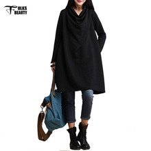 2016 New Arrival Spring Casual Loose Dresses Korean style Women Knee-length Long Sleeve brand Dress Vestidos Plus Size(China (Mainland))