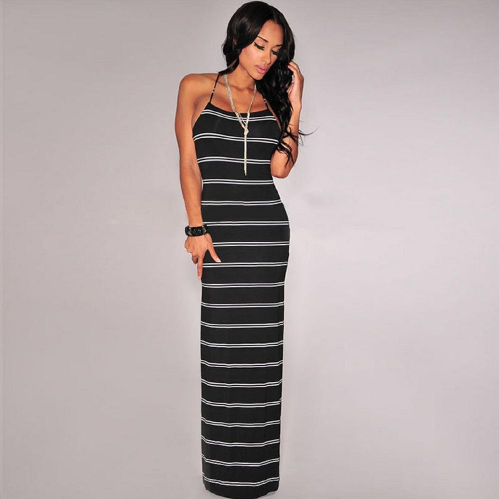White striped off shoulder criss cross back summer club maxi dress