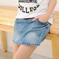 Free Shipping Summer High Waist Denim Shorts for Pregnant Women Loose Maternity Shorts Jeans Fashion Pregnancy
