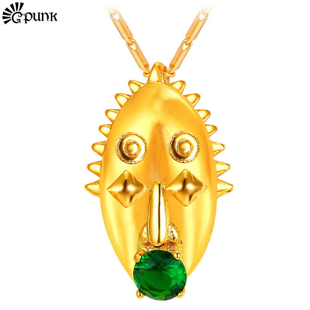 Women Pendant Necklace 18K Real Gold Plated AAA+ Cubic Zirconia Mari Indian Jewelry Hiphop Punk Style African Jewelry P2197G(China (Mainland))