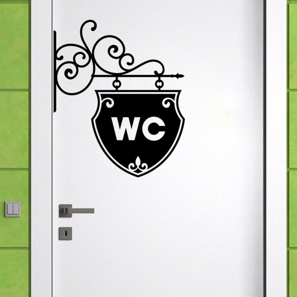 Free shipping art wc toilet sticker home decoration decal for Door mural stickers