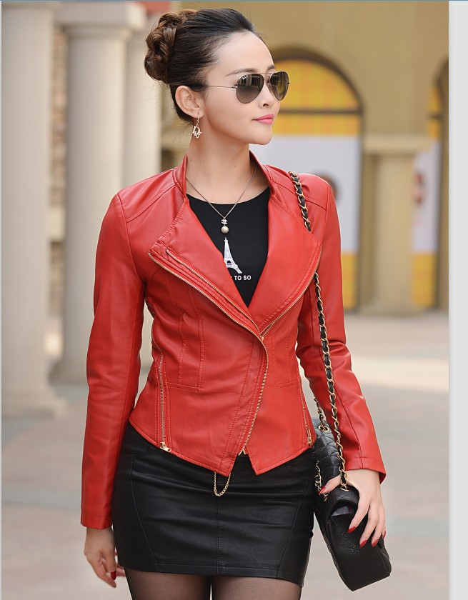 Small short leather jacket women clothing new spring and autumn leather coat Motorcycle leather jackets(China (Mainland))