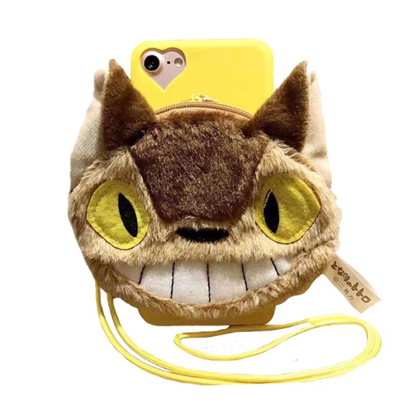 2016 Japan fashion cartoon animals dust wizard totoro bus wallet stand warm plush doll case For Iphone 6 6s/6plus 6splus/7/7plus(China (Mainland))