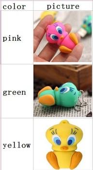 wholesale free shipping 10pcs/lot cortoon duck shape usb memory stick pen thumb drive (3 colors mix to buy)
