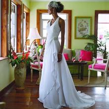 2017 Beach Wedding Dresses Elegant Chiffon Wedding Dresses Halter Wedding Dresses Pleated Bridal Gowns(China (Mainland))
