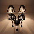 Factory direct sell Black Crystal Wall Lamp Candle Led E14 Bulbs Black with without Fabric Lampshade
