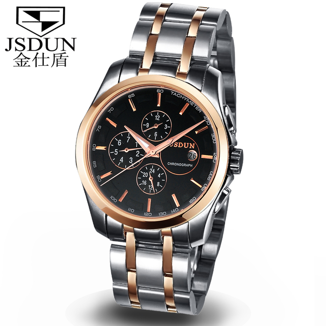 JSDUN Fashion Skeleton Mens Sports  Auto Mechanical Gold Stainless Full Steel Case Band Wrist Dress Casual Wrist Watch 8689