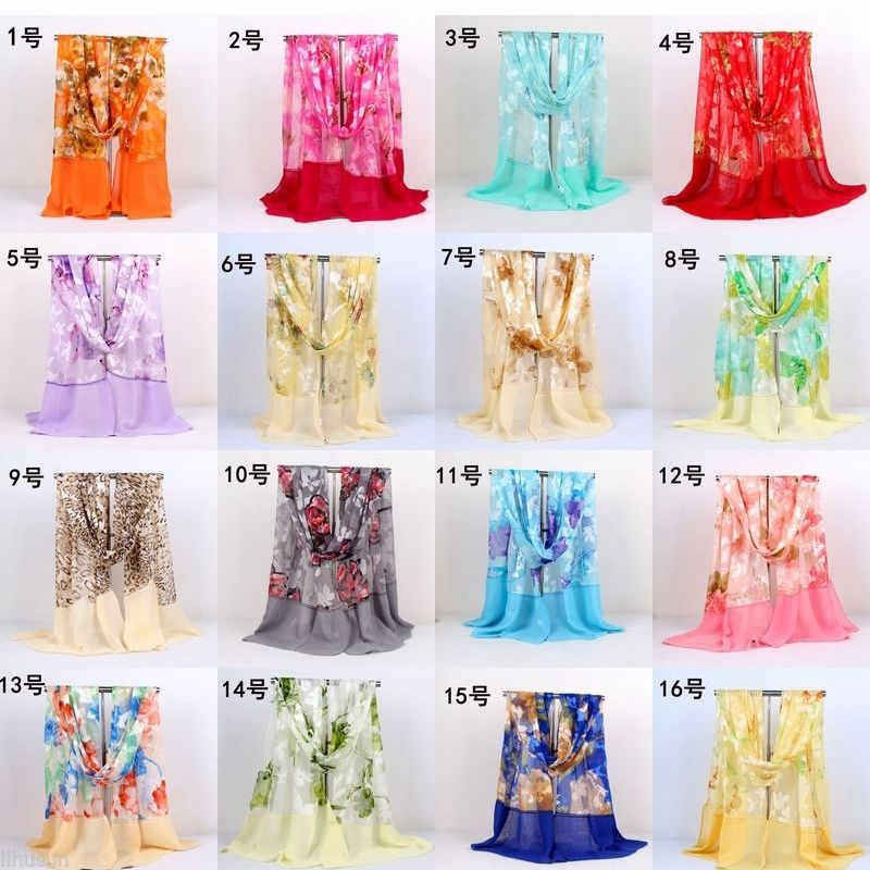 170*55cm Chinese Handmade 2 Sides embroidered Silk Floral Scarves and Shawls(tell me the number which one you want to buy)(China (Mainland))