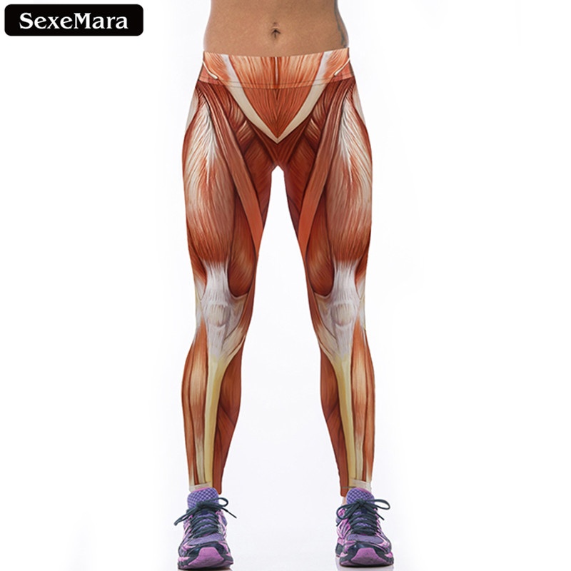 SexeMara New Design Muscle Texture Leggings Women Creative Unique Printed Elastic Leggins Breathable Fitness Sport Pants F1473(China (Mainland))
