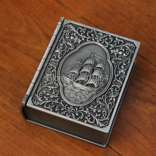 Free Shipping Pirates of The Caribbean Master and Commander Captain Journal Book Jewelry Case Gift Chest Trinket Accessory Box(China (Mainland))
