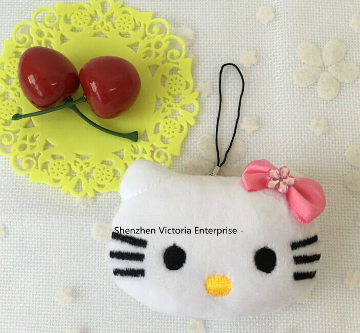 New Cute Little 5CM Hello Kitty Wedding Bouquet Gift Decor Plush Toy - Stuffed Cat Toy Doll , with String Rope(China (Mainland))