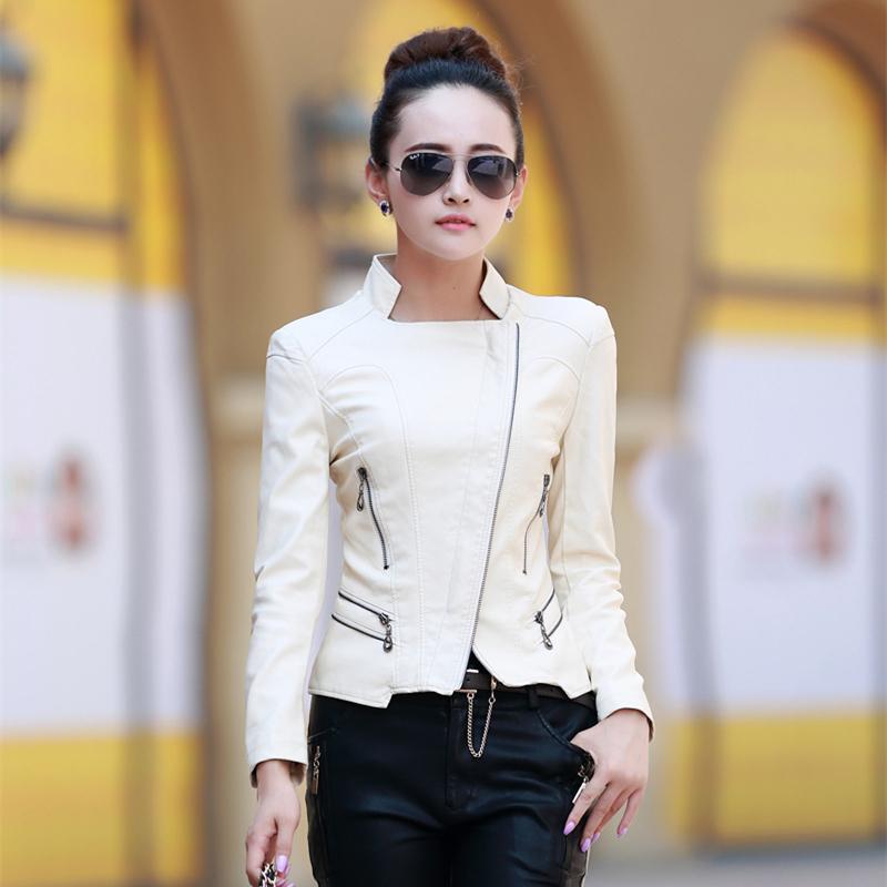 womens coats and jackets winter 2015 5XL plus size leather jackets for women lederjacke red white motorcycle jacket women BA003(China (Mainland))