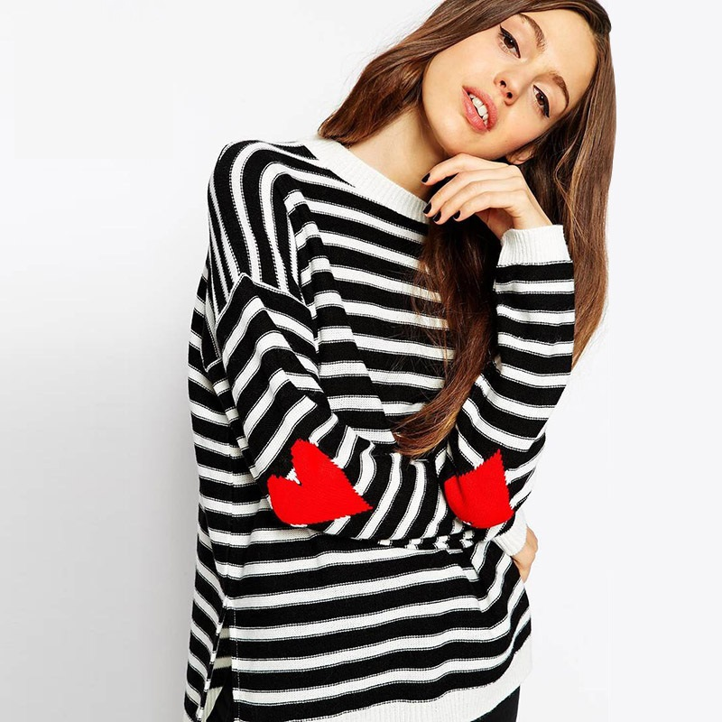 Top Quality Women Sweater 2015 New Fashion Brand Love Hearts Patch Striped Knitwear Ladies Pullovers Women Hot Sale Y0901-89D(China (Mainland))