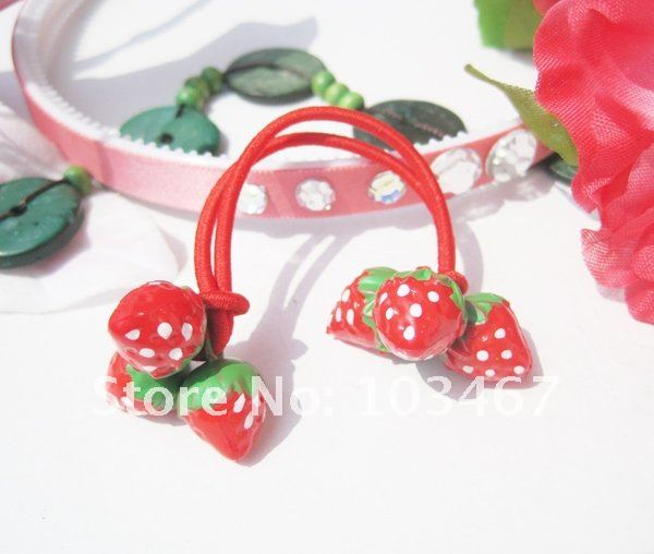 wholesale price! red color strawberry kid's hair bands hair jewelry nice design-free shipping(China (Mainland))