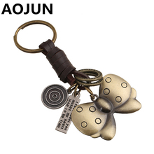 NEW Bowknot Jewelry Key Chains Bronze Plated Keyrings Women Genuine Leather Key Holder Chain Purse Bag Buckle HandBag Pendant(China (Mainland))