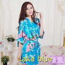 RB008  2015 Short Style Woman Peacock Printed Silk Kimono Robes ,Wedding Party Bridesmaid Robe(China (Mainland))