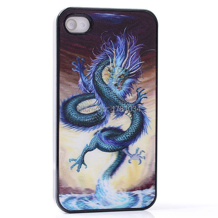 AMAZE 3D three-dimensiona EFFECT blue wile dragon fly out ocean Howl PC Hard Back Shell Cover protective Case For iphone 4 4S 4G(China (Mainland))