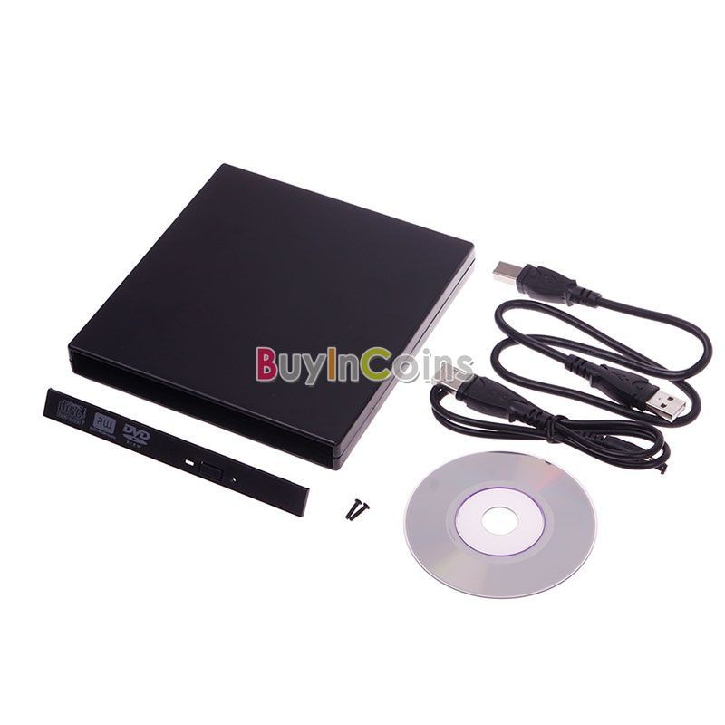 SATA DVD CD RW Disc Drive USB 2.0 External Slim Enclosure Case for Notebook PC US AS #52593(China (Mainland))