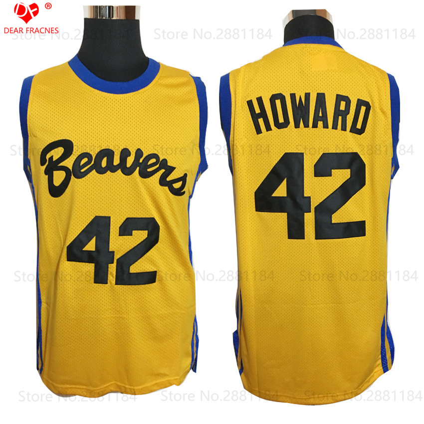 2017 Top Quality Cheap Throwback Basketball Jersey HOWARD 42 BEAVERS TEEN WOLF MOVIE MICHAEL J FOX SHIRT YELLOW ALL STITCHED(China (Mainland))