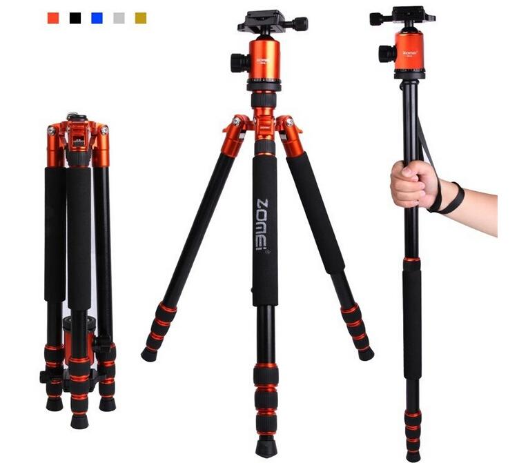 Orange tripod Zomei Orange Portable Pro Aluminum Travel Tripod Monopod&Ball Head for DSLR Camera(China (Mainland))
