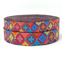 HOT!!! NEW  wholesale 7/8'' 22mm Wide Colorful geometric flower Woven Jacquard Ribbon dog chain accessories 10yards/lot