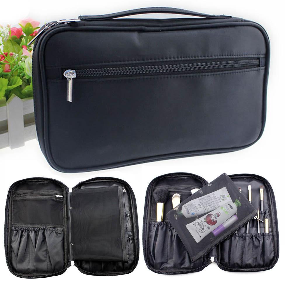 New men women cosmetic wash toiletry handbag travel cosmetic Hanging bag makeup brush portable organizador large tote kit case(China (Mainland))