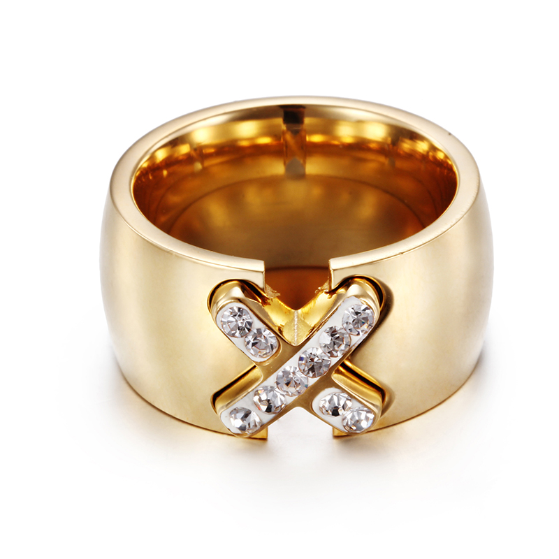 Ladies New Design Cross Ring Quality 18K Gold Plated Titanium Ring for Women Wedding Band Engagement Ring Fashion Jewelry(China (Mainland))
