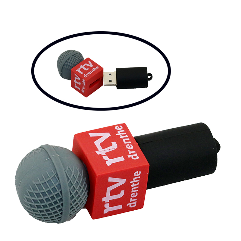 Promotions! Funny 8GB 16GB 32GB 64GB USB Flash Drive Cartoon MIC Microphone Model USB 2.0 Flash Memory Stick Festival gifts(China (Mainland))