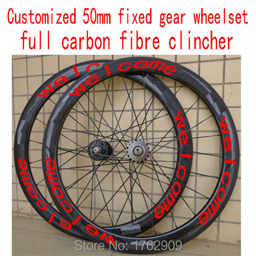 New customized 700C 50mm clincher rim Track fixed gear bike 3K UD 12K full carbon fibre bicycle wheelset 23 25mm width Free ship(China (Mainland))