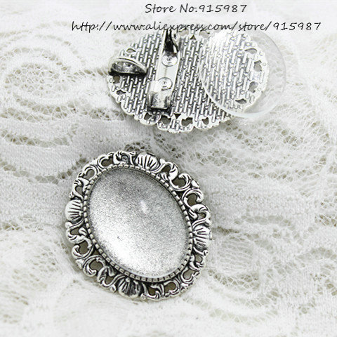 6set Antique silver Alloy 30*34mm Fit 18*25mm Filigree Brooch oval Cabochon Brooch + Pendant Setting Clear Glass Cabochons D0663(China (Mainland))