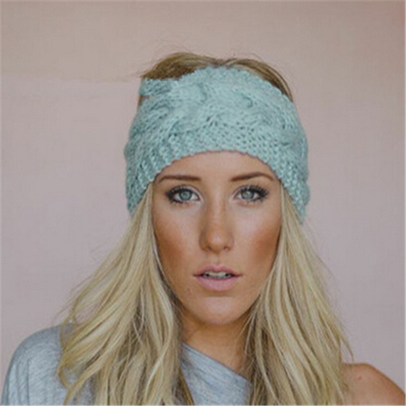 2016 Women Girl Knitted Headband Headwear Winter Warm Twist Crochet Head Wrap Ear Warmer Hair Accessories Hair Band KH852134(China (Mainland))