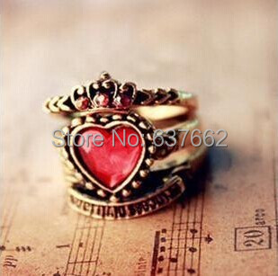 Free Shipping $10 (mix order) Vintage Red Rhinestone Auger Peach Heart Crown Ring Female 3 piece-set(China (Mainland))