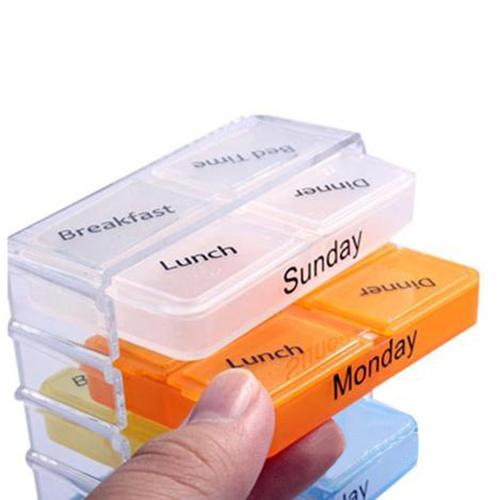 Colorful Pills Medicine  Storage 7 Days Tablet Sorter Box Container Cases Organizer Health Care   Chic Design 5GK4