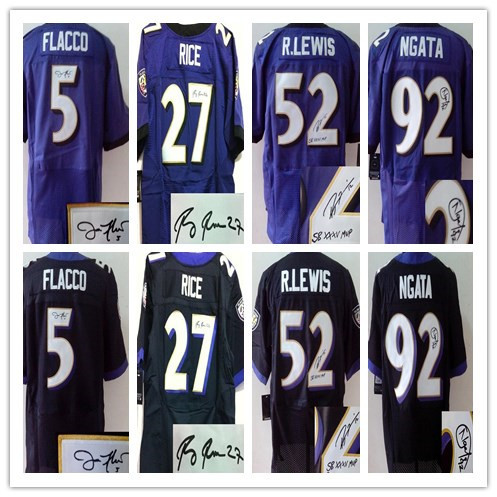 American Football Jersey #5 Joe Flacco Jersey Baltimore #27Ray Rice Signed jersey Men's elite Stitched logo Accept Mix Order(China (Mainland))