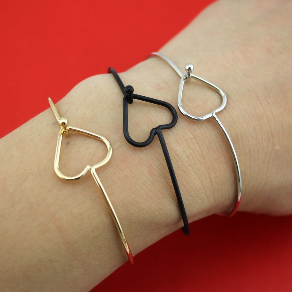 2015 New Hot Sell Fashion Gold/Silver/Black Jewelry Heart Bracelet Thin Bangle 00RAB Wholesale Free Shipping(China (Mainland))