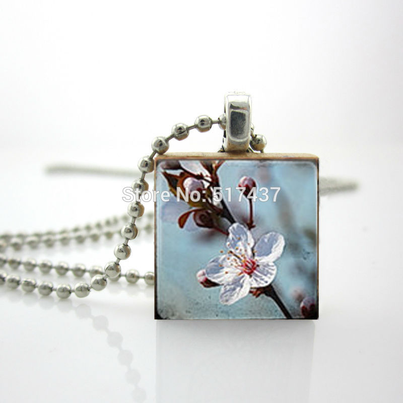 Free Shipping Scrabble Game Tile Jewelry Cherry Blossom Necklace Beautiful Flowers Ball Chain Gifts For Her(China (Mainland))