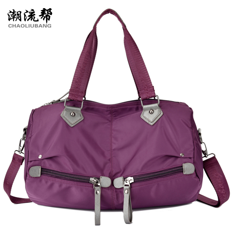 High quality waterproof nylon handbag brand Pure color contracted firm travel bag More zipper women's shoulder bag fashion bag(China (Mainland))