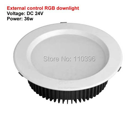 high power 12*3w 24v rgb led ceiling downlight 36w recessed sopt kitchen lights for home decorate round shape 2pcs/lot(China (Mainland))