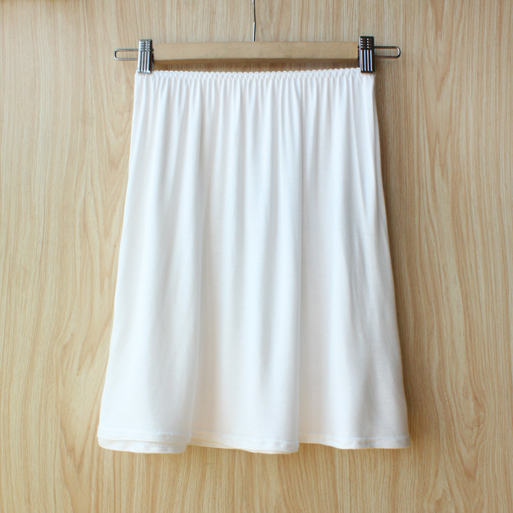 2016 Brand Women Solid Modal Half Slips Plus Size Elastic Waist Underskirt One Size White Black Khaki #K16(China (Mainland))