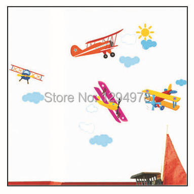 Free shipping Plan Propeller Airplane Wall Sticker Carsair DIY Mural Art Window Cling Kid Room Paper Daycare Decor TC962(China (Mainland))