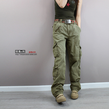 Free shipping New 2015 Fashion plus size Green camouflage cargo pants women army fatigue pants loose jeans baggy sport pants(China (Mainland))