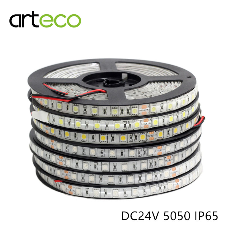 DC24V SMD 5050 LED strip flexible light IP65 waterproof 60 leds/m,5M LED strip 5050 RGB , single color LED Tape(China (Mainland))