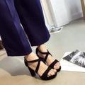 Summer Shoes Woman 2017 Sandalias Plataforma Thick High Heeled Sandals Strappy Black Beige 8cm