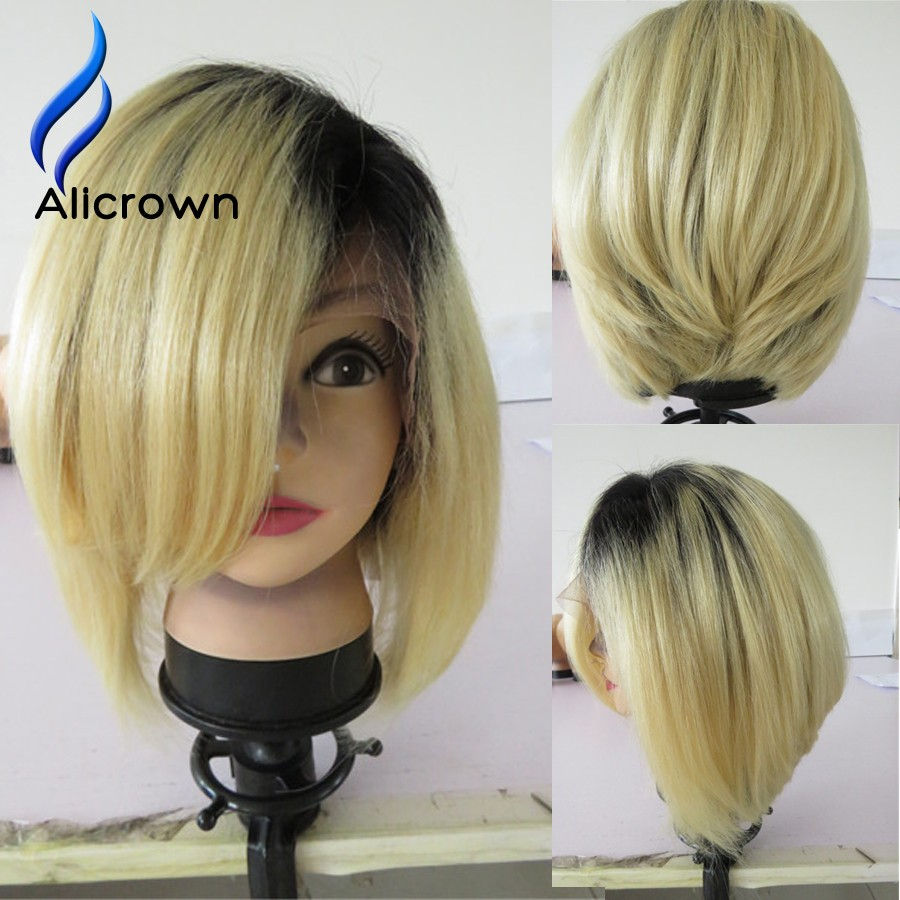 Human Hair Blonde Bob Wigs Straight Ombre Full Lace Human Hair Wigs With Bangs 10a Brazilian Blonde Lace Front Wigs With Bangs