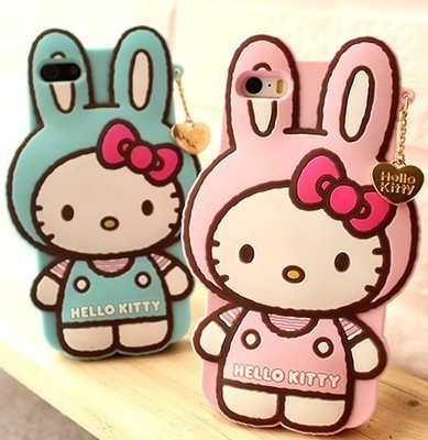 2015 Lovely Personality Catoon Hangtags Kitty Rabbits Soft Silicon Protective Back Cover Phone Case For Iphone 4 4S YC263(China (Mainland))