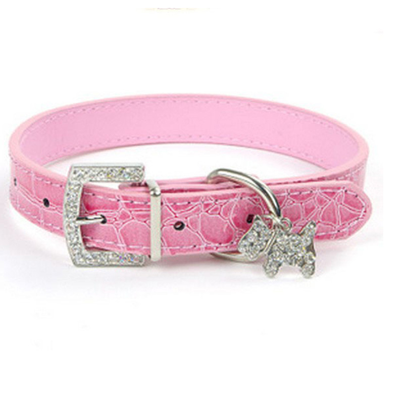 1PCS Crystal Pendant Pet Dog Collar Puppy Cat Pet Buckle Dogs Leads Neck Strap PU Leather Animal Pet Accessories For Small Dogs(China (Mainland))